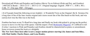 Pride and Prejudice and Zombies by Seth Grahame-Smith PDF Download